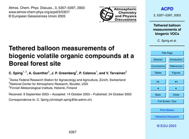 Tethered Balloon Measurements of Biogeni... by Spirig, C.