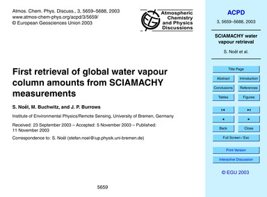 First Retrieval of Global Water Vapour C... by Noël, S.