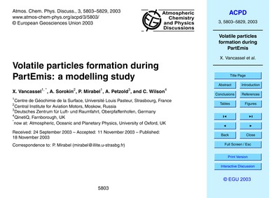 Volatile Particles Formation During Part... by Vancassel, X.
