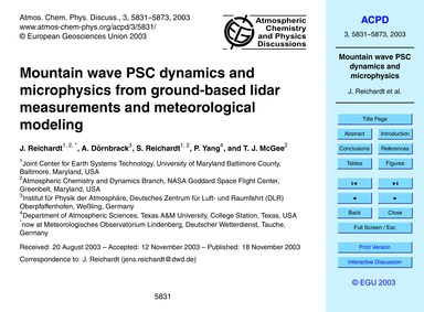 Mountain Wave Psc Dynamics and Microphys... by Reichardt, J.