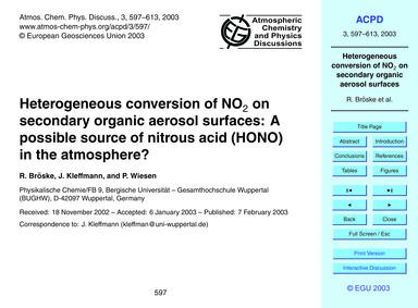 Heterogeneous Conversion of No2 on Secon... by Bröske, R.