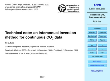 Technical Note: an Interannual Inversion... by Law, R. M.