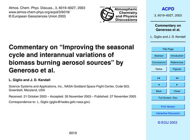 """Commentary on """"improving the Seasonal Cy... by Giglio, L."""