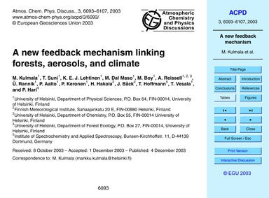 A New Feedback Mechanism Linking Forests... by Kulmala, M.