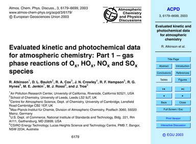Evaluated Kinetic and Photochemical Data... by Atkinson, R.