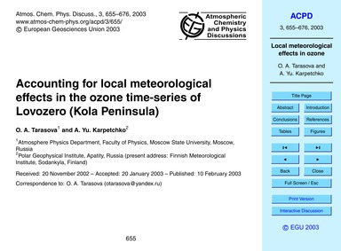 Accounting for Local Meteorological Effe... by Tarasova, O. A.