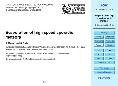 Evaporation of High Speed Sporadic Meteo... by Murad, E.