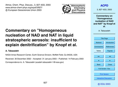 Commentary on Homogeneous Nucleation of ... by Tabazadeh, A.