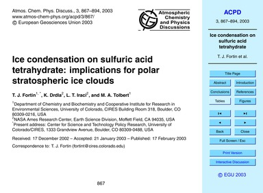 Ice Condensation on Sulfuric Acid Tetrah... by Fortin, T. J.