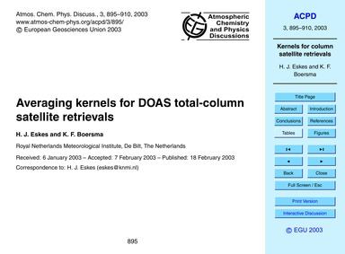 Averaging Kernels for Doas Total-column ... by Eskes, H. J.