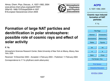 Formation of Large Nat Particles and Den... by Yu, F.