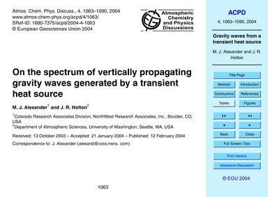 On the Spectrum of Vertically Propagatin... by Alexander, M. J.