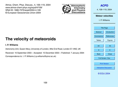 The Velocity of Meteoroids : Volume 4, I... by Williams, I. P.