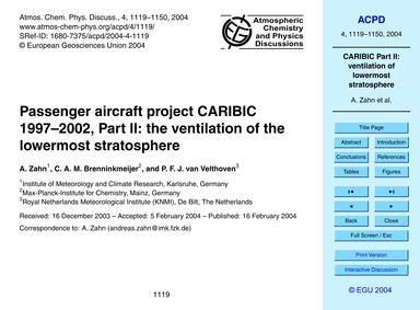 Passenger Aircraft Project Caribic 1997–... by Zahn, A.