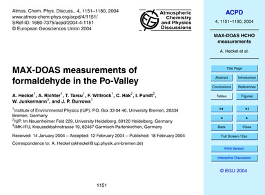 Max-doas Measurements of Formaldehyde in... by Heckel, A.