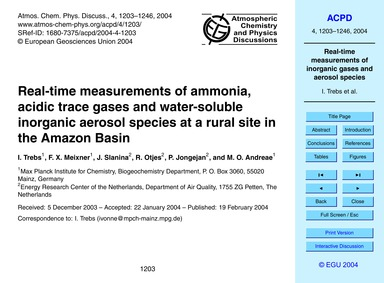 Real-time Measurements of Ammonia, Acidi... by Trebs, I.