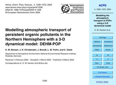 Modelling Atmospheric Transport of Persi... by Hansen, K. M.