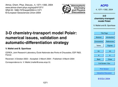 3-d Chemistry-transport Model Polair: Nu... by Mallet, V.