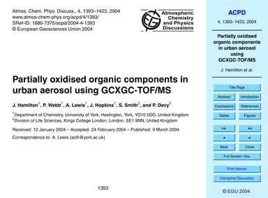 Partially Oxidised Organic Components in... by Hamilton, J.