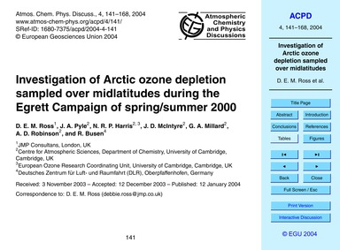 Investigation of Arctic Ozone Depletion ... by Ross, D. E. M.
