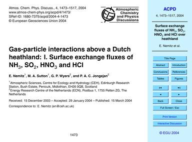 Gas-particle Interactions Above a Dutch ... by Nemitz, E.