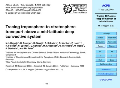 Tracing Troposphere-to-stratosphere Tran... by Hegglin, M. I.