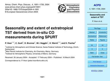 Seasonality and Extent of Extratropical ... by Hoor, P.