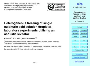 Heterogeneous Freezing of Single Sulphur... by Ettner, M.