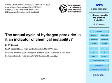 The Annual Cycle of Hydrogen Peroxide: i... by Stewart, R. W.