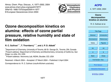 Ozone Decomposition Kinetics on Alumina:... by Sullivan, R. C.