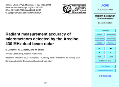 Radiant Measurement Accuracy of Micromet... by Janches, D.