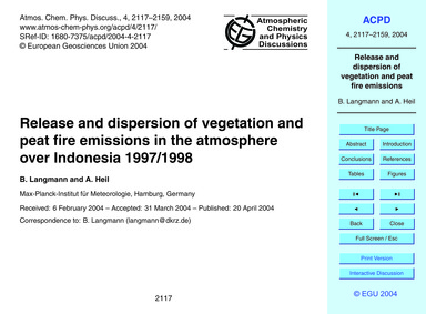 Release and Dispersion of Vegetation and... by Langmann, B.