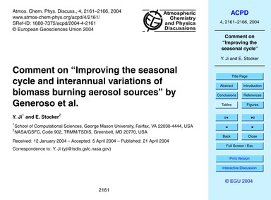 "Comment on ""improving the Seasonal Cycle... by Ji, Y."
