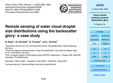 Remote Sensing of Water Cloud Droplet Si... by Mayer, B.