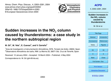 Sudden Increases in the No2 Column Cause... by Gil, M.