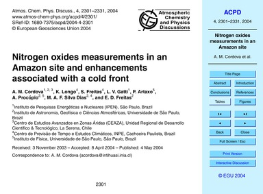 Nitrogen Oxides Measurements in an Amazo... by Cordova, A. M.