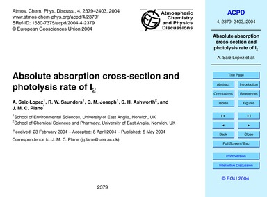 Absolute Absorption Cross-section and Ph... by Saiz-lopez, A.