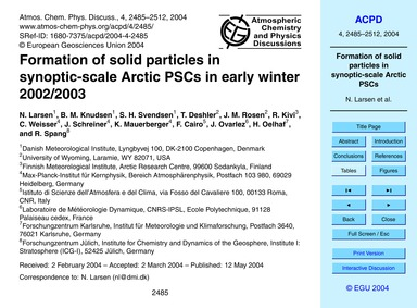 Formation of Solid Particles in Synoptic... by Larsen, N.