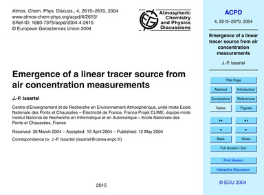 Emergence of a Linear Tracer Source from... by Issartel, J.-p.