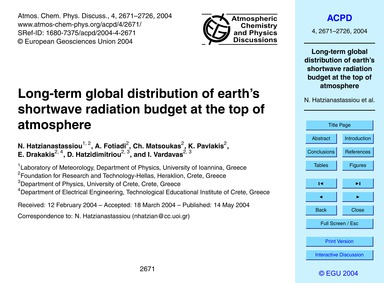 Long-term Global Distribution of Earth's... by Hatzianastassiou, N.