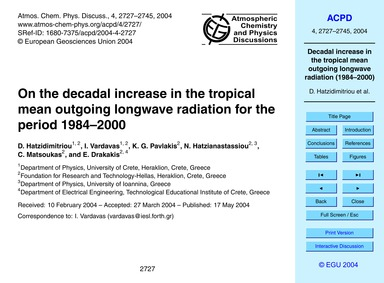 On the Decadal Increase in the Tropical ... by Hatzidimitriou, D.
