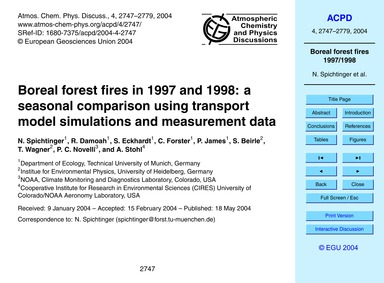 Boreal Forest Fires in 1997 and 1998: a ... by Spichtinger, N.