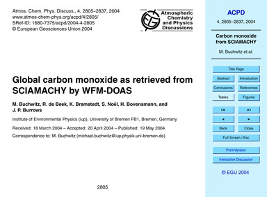 Global Carbon Monoxide as Retrieved from... by Buchwitz, M.