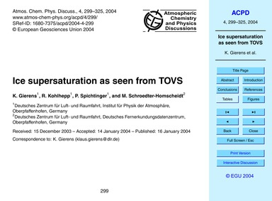 Ice Supersaturation as Seen from Tovs : ... by Gierens, K.