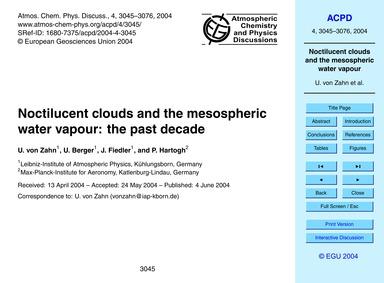 Noctilucent Clouds and the Mesospheric W... by Von Zahn, U.
