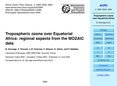 Tropospheric Ozone Over Equatorial Afric... by Sauvage, B.