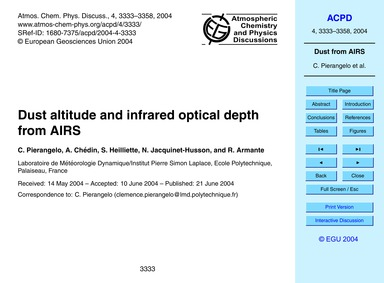 Dust Altitude and Infrared Optical Depth... by Pierangelo, C.