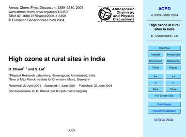 High Ozone at Rural Sites in India : Vol... by Chand, D.