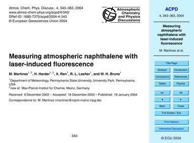 Measuring Atmospheric Naphthalene with L... by Martinez, M.