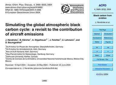 Simulating the Global Atmospheric Black ... by Hendricks, J.